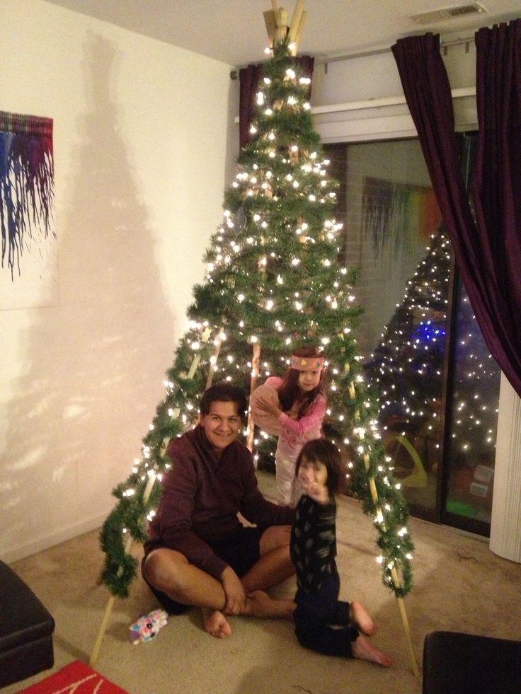 Completed teepee tree teepee christmas tree pinterest