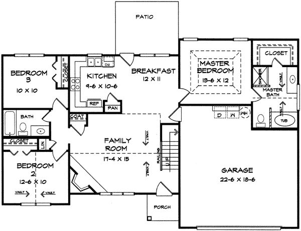 Split bedroom ranch with bonus Split bedroom ranch house plans
