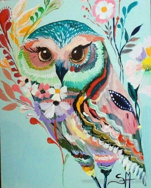 Love this owl  Beautiful colors Owl Eyes Paintings