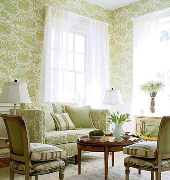 Green floral classic room wallpapers cozy elegant living - Cozy elegant living rooms ...