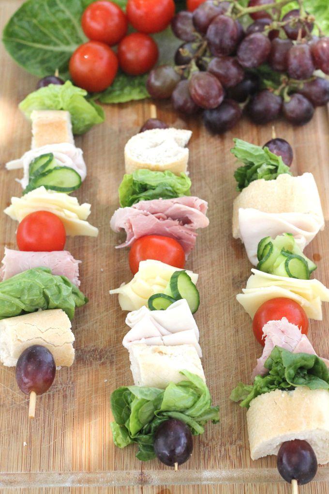 sandwich on a stick - make w/o bread - maybe add olives