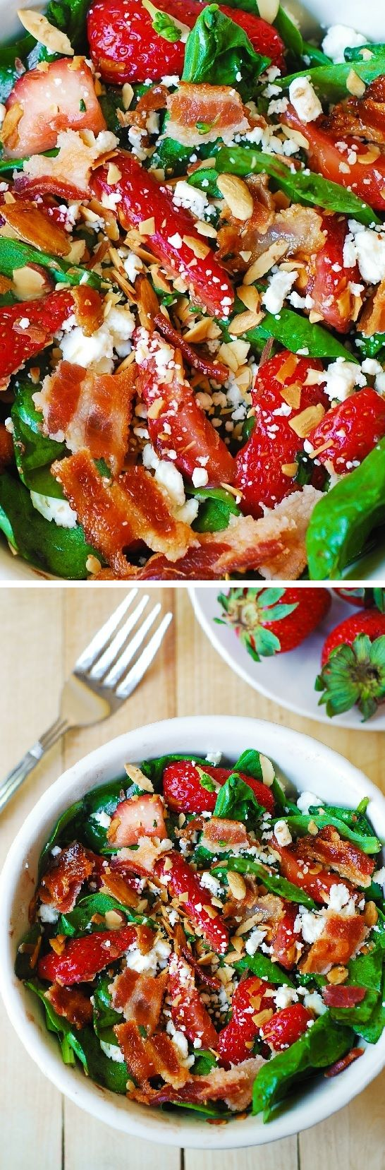 Strawberry spinach salad with bacon, feta cheese, and toasted almonds ...