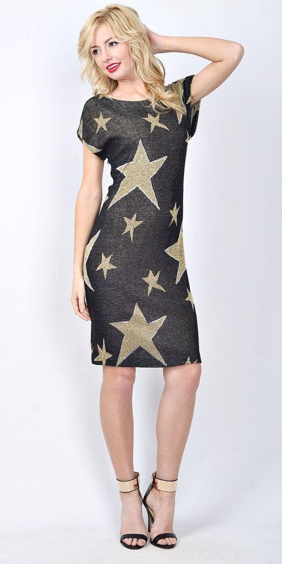 Vintage 80s black gold retro dress star print open back plunging sm