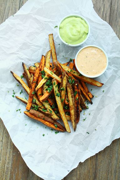 Tex-Mex Oven Fries with Chipotle Lime Ranch and Avocado Ranch Dipping ...