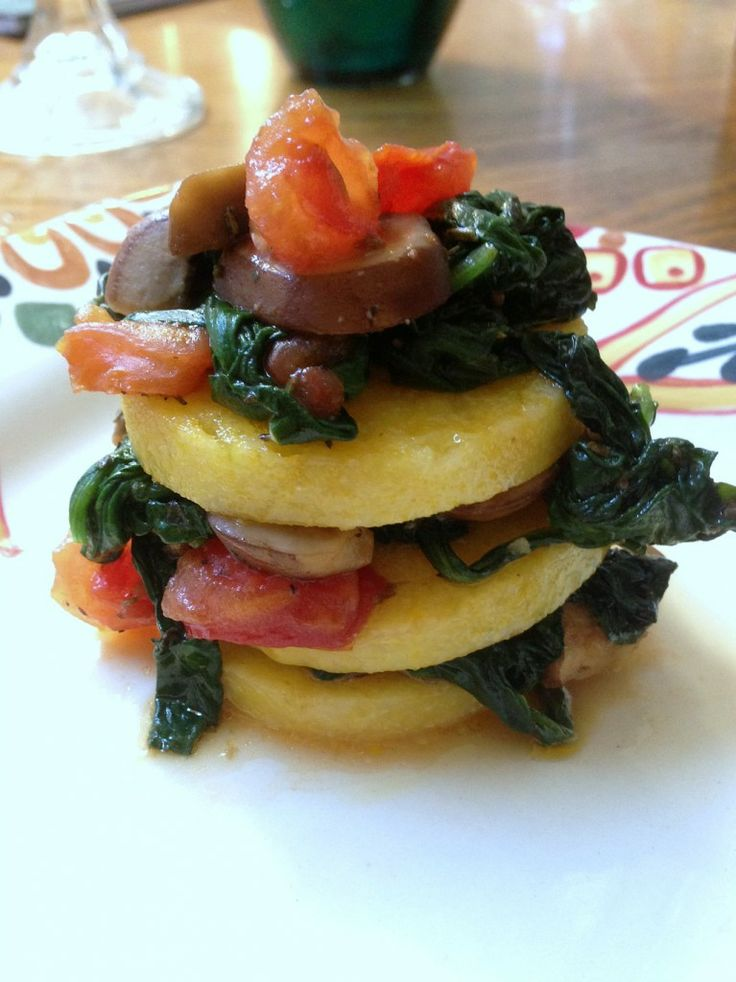 polenta, mushroom and spinach stack. This is really good and easy to ...