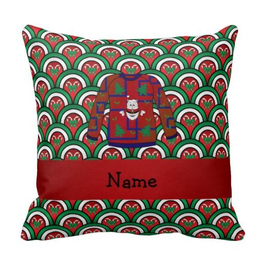 Sweater candy canes pillows custom name ugly christmas sweater candy