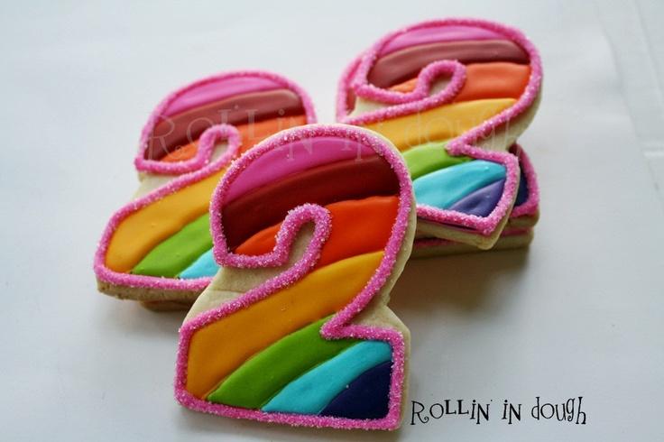 Rainbow Cookie Favors, Rainbow Number Cookie Favors, Rainbow Birthday ...