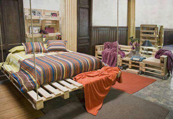 Room of pallet furniture