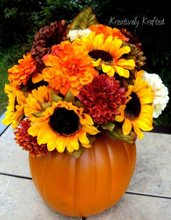 Beautiful Handmade Autumn Fall Floral Pumpkin Centerpiece