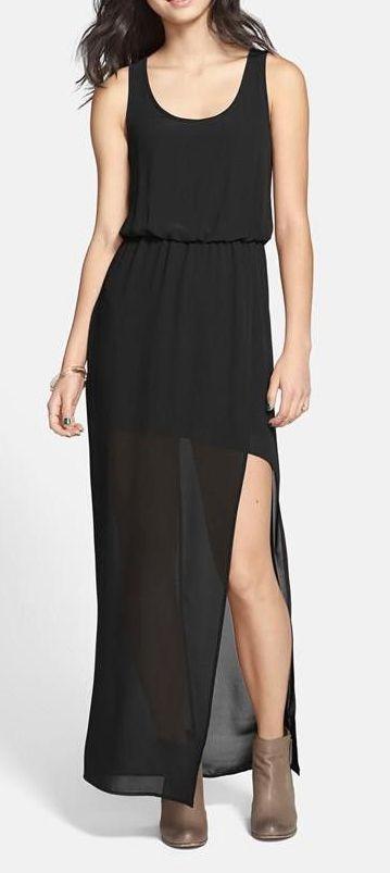 Lush faux wrap chiffon maxi dress clothing i like pinterest