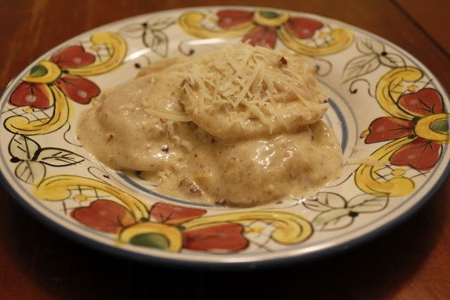 Sweet Potato and Goat Cheese Ravioli in Cinnamon Pecan Alfredo