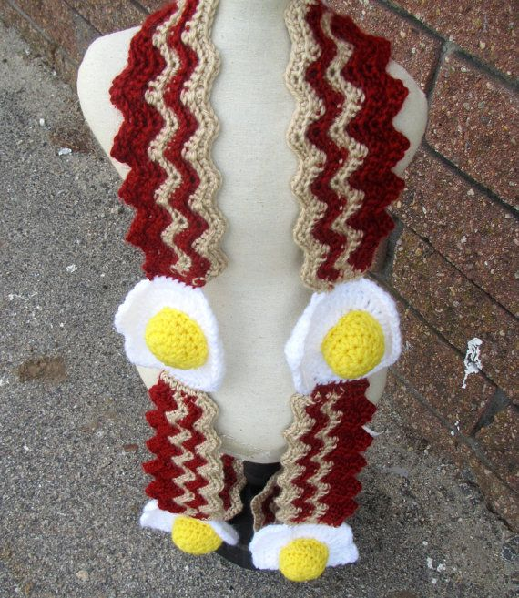 Knitting Pattern Bacon Scarf : Hand crocheted Savory Bacon and Eggs Scarf