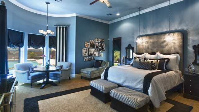Blue Master Bedroom LOVE The Black Contrast And The Black And White