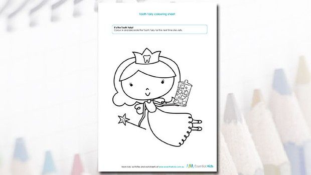 Tooth Fairy Colouring Page