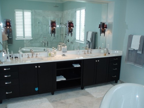Black teal gray white bathroom style lust pinterest for Teal and grey bathroom ideas