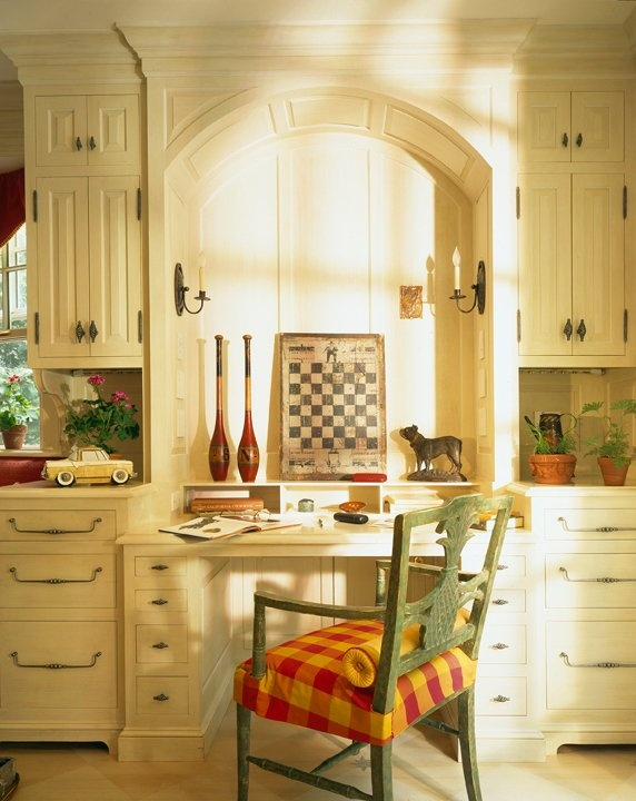 Love the white cabinets in this kitchen and the red and yellow It's