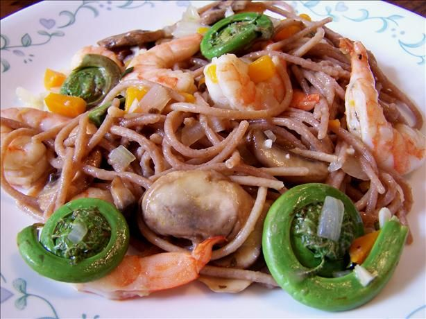 Fiddlehead Ferns and Shrimp over Linguine | Recipe