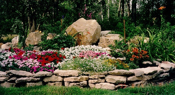 Stone Flower Bed : stones, raised flower beds  gardening  Pinterest