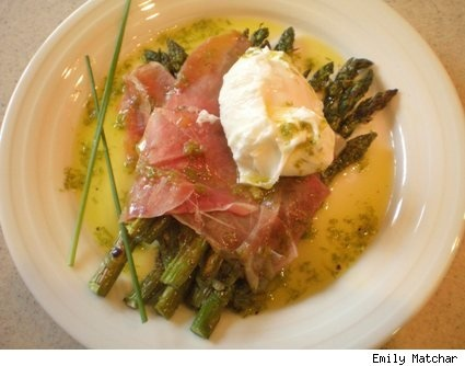 ... recipe: Poached eggs with roasted asparagus, prosciutto, and chive oil