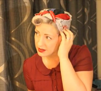 semi mohawk hairstyle : how to tie a 1940s rosie the riveter head scarf 1940 s hairstyles