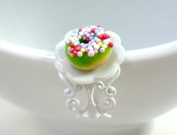 Miniature Green Sprikled Donut Polymer Clay Food by Glamour365, $7.00