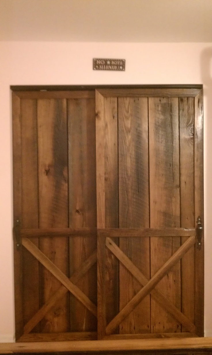 Barn closet doors projects pinterest for Small closet barn door