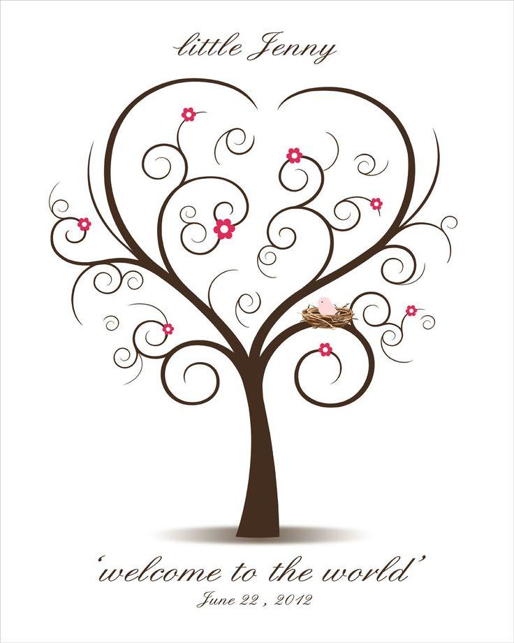 baby shower fingerprint tree printable pdf file digital thumbprint