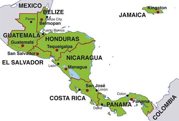 Map Of Central America Countries And Capitals