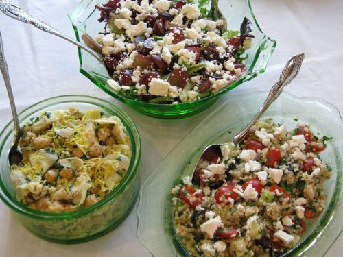Mediterranean grain salad, golden chickpea salad with artichokes and ...