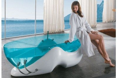 Clear Blue Acrylic Free Standing Whirlpool Bathtub from the Future -$3499