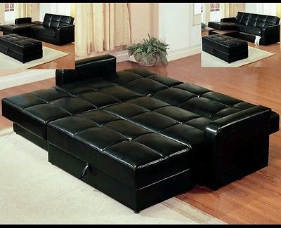 Black Leather Sectional Sleeper Sofa Couch with Storage Ottoman