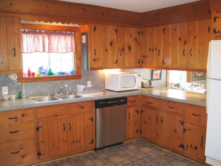 Pine kitchen garside house pinterest - Knotty pine cabinets makeover ...