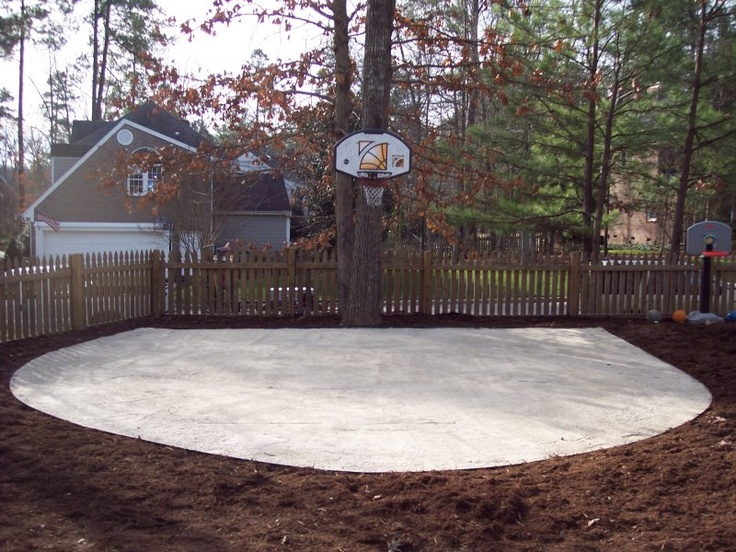 Pictures of outside basketball courts tiered backyard for Homemade basketball court
