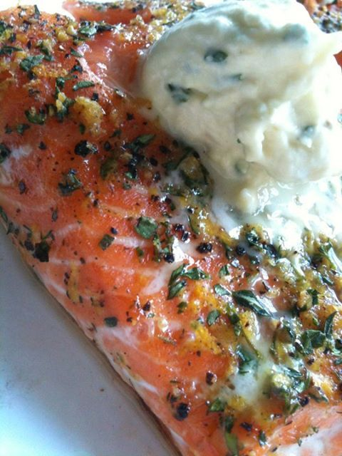 Salmon With Thyme And Three-Lemon Creme Fraiche Recipe — Dishmaps