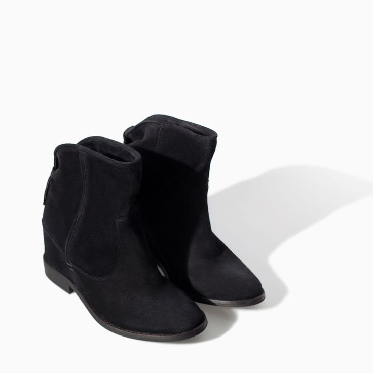 ZARA - WOMAN - LEATHER ANKLE BOOT WITH INTERIOR WEDGE