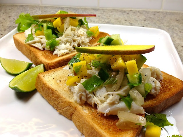 Open faced crab sandwiches with mango and pickled green tomatoes. easy ...