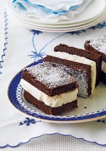 Chocolate brownie ice cream sandwich | Cold desserts | Pinterest
