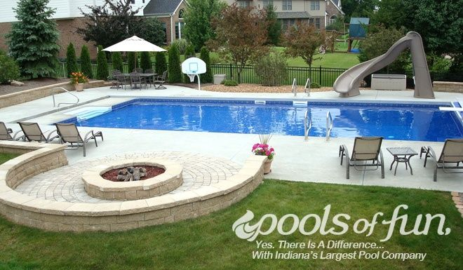 Backyard With Pool And Firepit : Inground Pools Photos  Pools of Fun Fire pit idea
