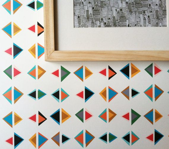 Removable Wallpaper Triangle Print Perfect For