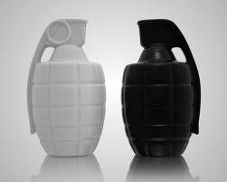 Grenade salt and pepper shakers