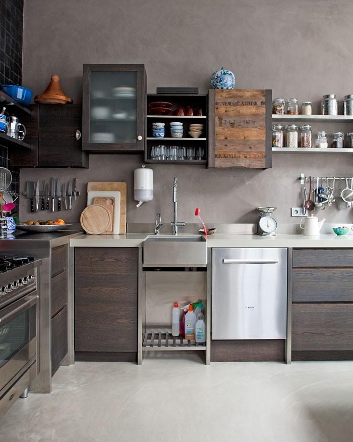 Kleine Keuken Voorbeelden : Voorbeelden van keuken van hout gecombineerd met roestvrij staal