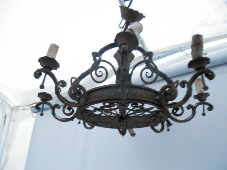 large vintage spanish revival wrought iron 8 light fixture. Black Bedroom Furniture Sets. Home Design Ideas