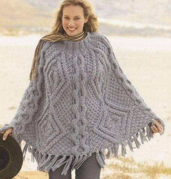 Knitting Pattern For Chunky Poncho : Ladies mega super chunky cable aran poncho vintage ...