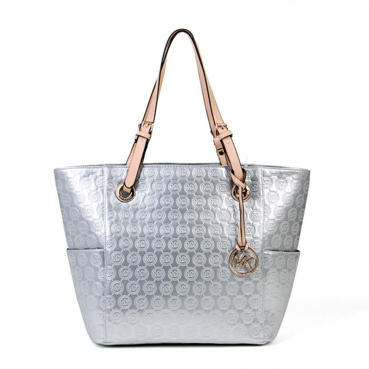 Michael Kors Layton Satchel silver Crossbody Bags -MK logo with black