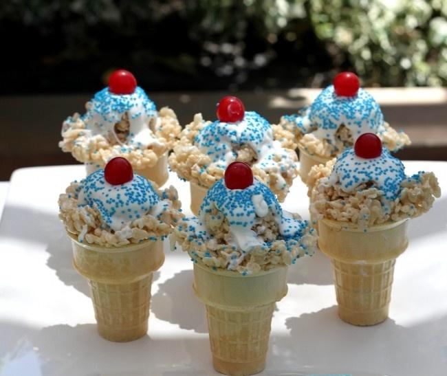 Rice Krispie Ice Cream Cones!
