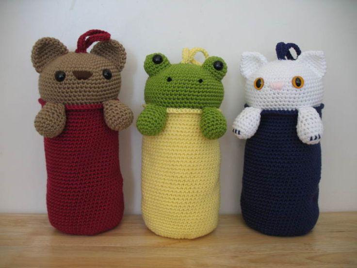 Crochet Plastic Bag Keeper Pattern : Amigurumi Plastic Bag Holder Purse, wallets etc, crochet ...
