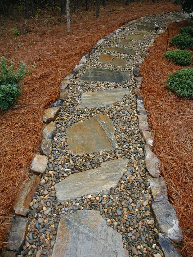 River stone pathway garden pinterest - Pictures of stone pathways ...