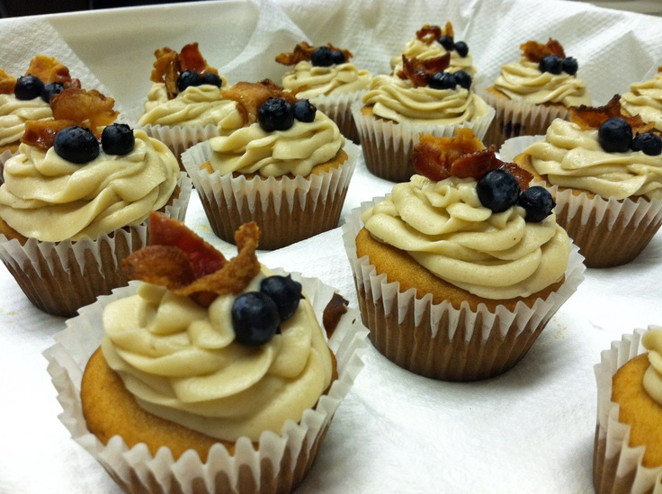 Blueberry Pancake Cupcakes with Maple Buttercream, and BACON! :)