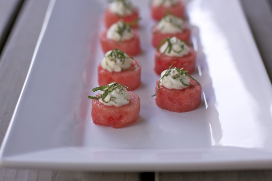 Watermelon w/ Goat Cheese Mousse & Mint | Food | Pinterest