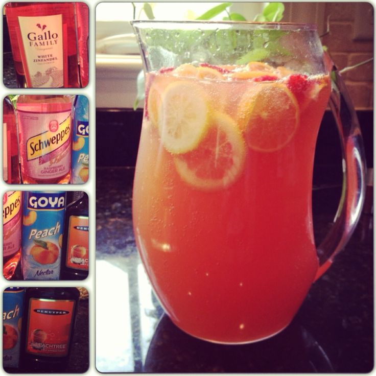 Raspberry Peach Sangria: 4 cups White Zinfandel, 3 cups Schweppes ...